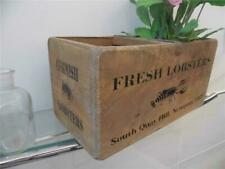 SHABBY VINTAGE CHIC STYLE WOOD STORAGE CRATE BOX FRESH CORNISH LOBSTERS NEWQUAY