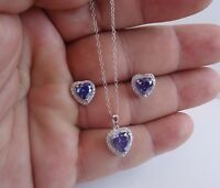 925 STERLING SILVER NECKLACE PENDANT & EARRING SET W/9.50 CT DIAMOND/TANZANITE