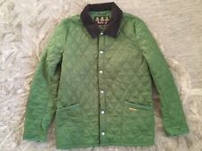 BARBOUR JACKET MENS S FLY WEIGHT QUILTED GREEN COAT BRITISH AIR CORDUROY COLLAR