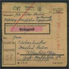 Paketkarte 1943 KARLSRUHE siehe Beschreibung (117312)