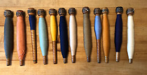 12 Vintage Antique Wooden Yarn Thread Cotton Wool Spool Spindle Bobbin Wood Loom