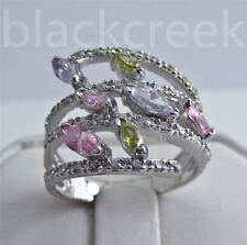925 Sterling Silver ~ 2ct Multi-Colored Sapphires ~ Mother's or Dinner Ring 8