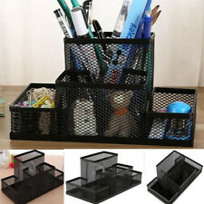 Desk Holder Organizer Metal Black Mesh Style Desktop Office Pencil Pen Storage