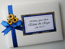 PERSONALISED WEDDING GUEST BOOK WITH SUNFLOWERS (BLUE) - ANY COLOUR
