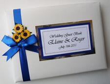 Matrimonio Personalizzato Libro Degli Ospiti CON GIRASOLI (Blu) - qualsiasi colore