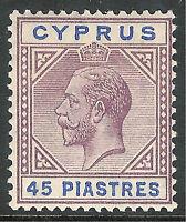 Cyprus 1923 dull-purple/ultramarine 45 piastres mint SG99