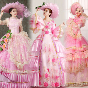 Women Medieval Renaissance Dress Pink Party Ball Gown Court Costumes