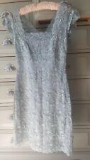 Onyx Nite Lace Lined Bluey Grey Sequinned Dress UK 6