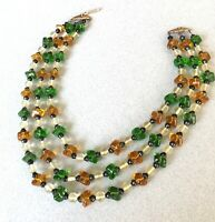 VINTAGE 3 STRAND GLASS ART DECO STYLE NECKLACE collar 1950s 1930s