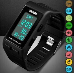 Mens Watch Army Military Alarm LED Digital Waterproof Walking Sport Wrist Watch
