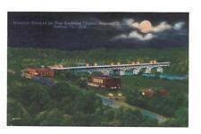 MOONLIGHT SCENE,NEW SOUTHWEST VIRGINIA MEMORIAL BRIDGE,RADFORD VIRGINIA LINEN NM