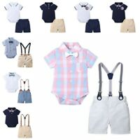 Infant Baby Boys Outfit Set Kids Wedding Formal Suit Bowtie Gentleman Rompers UK