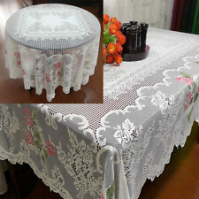 White Vintage Lace Tablecloth Dining Table Cloth Cover Wedding Party Home Decor