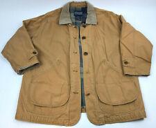 LANDS END Women's FIELD Chore JACKET Coat TAN Corduroy FLANNEL Lining Sz XL Used