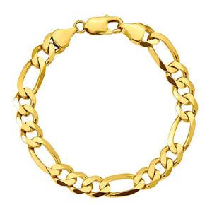 """Men's 10mm 14k Italian Gold *F  9""""  Figaro Solid Link Bracelet - Velvet Pouch"""