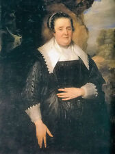 Oil painting Anthony van dyck - old woman portrait in landscape free shipping @@