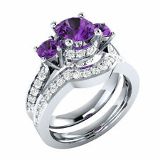 3.42 Ct Purple Round Cut Engagement Wedding Bridal 925 Sterling Silver Ring Set
