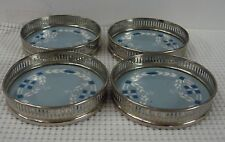 Villeroy Boch GREY BLUE Coasters with Chrome Silver Liners SET OF FOUR