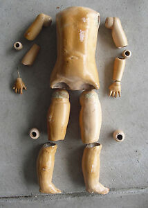 """BIG Vintage 1920s German Composition Jointed Doll Body Arms Legs 17 1/2"""" Tall"""
