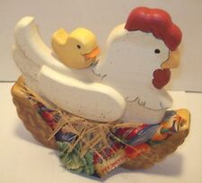 """Country Farmhouse Decor Hen and Chick Tole Painted Wood Kitchen 8""""X 8"""" NEW"""
