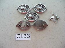 #C133 Enmon Lot of 5 Conchos of 2 Deer One Male and One Female Hunting 38x25mm