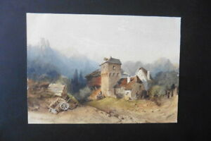 FRENCH SCHOOL 19thC - ANIMATED LANDSCAPE SIGN. WINANT - FINE WATERCOLOR