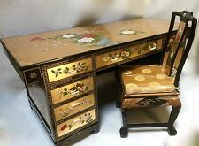 """Oriental furniture executive Desk Chinese 68"""" Gold leaves with French Lacquer"""