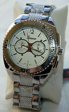 NEW Geneva 2842 Mens Platinum Leisure Style Rugged White Dial Steel Manly Watch
