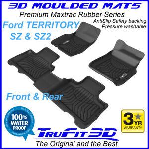 Fit Ford Territory SZ SZ2 2011-17 3D Maxtrac F&R Black Rubber Floor Mats