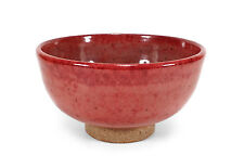 VINTAGE BEAUTIFULLY HAND THROWN STUDIO ART POTTERY FOOTED BOWL RED OXBLOOD GLAZE