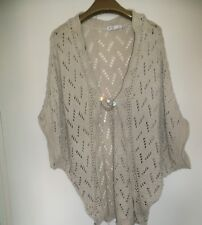 beige crochet jacket with diamonte pin brooch( size large)