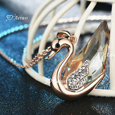 18K ROSE GOLD GF BIG CRYSTAL SWAN PENDANT NECKLACE SPECIAL