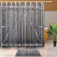 Wooden Barn Gray Door Waterproof Polyester Fabric Shower Curtain Bathroom Mat