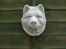 More details for large stone akita dog dogs head wall garden sculpture wall plaque