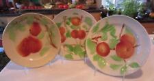"3 Vntg St Clement Fruit PLATES~APPLE~PEAR~APRICOT 8¼"" MAJOLICA Faience FRANCE EC"
