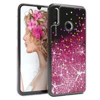 Für Huawei P Smart (2019) Glitzer Hülle Flüssig Silikon Case Handy Cover Pink