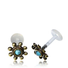 LABRET BRASS AFGHAN TURQUOISE FLOWER TRAGUS HELIX 16G 1/4 INCH 6mm BIOPLAST LOBE