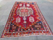 Vintage Hand Made Traditional Rug Oriental Wool Red Blue Large Carpet 285x180cm