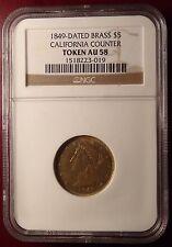 Rare 1849 $5 California Counter Token Gold Panner Certified NGC AU 58!