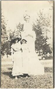 Two Women in Spring Dresses Stand @ Marble Cemetery Memorial Real Photo Postcard