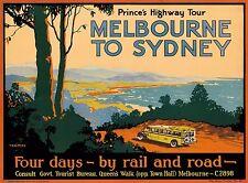 Prince's Melbourne to Sydney Australia Vintage Travel Advertisement Poster