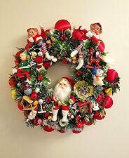 Vintage Christmas Wreath Handmade Red Green Whimsical Elves Santa Blowmold Elf