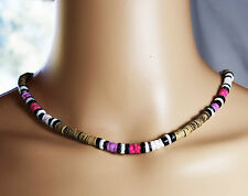 Surfer Choker Necklace Natural Wooden Beads Pink Black White Shell 47cm