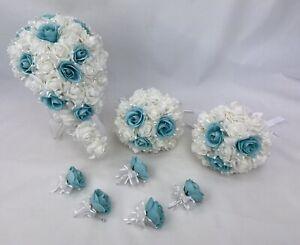 Artificial Flower Aquamarine Blue/White Foam Roses Teardrop Wedding Bouquet Set.