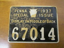 "Vintage 1937 Pennsylvania ""SPECIAL ISSUE"" Hunting License / Numbered Metal Tag"