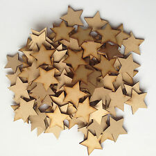 50x Wooden Star shapes Laser Cut MDF Blank Embellishments Art Craft 30mm x 30mm