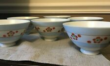 Set of 6 Vintage Rice china bowls made in occupied Japan floral design blue red