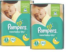 Pampers Windeln New Baby DRY Gr. 1.( 2-5 KG) (Gewicht: 2-5KG) NEWBORN 2x43 Stück