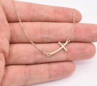 """Cross Necklace Pendant Cable Chain Real 10K Solid Yellow Gold 18.5"""" 3.65 grams"""