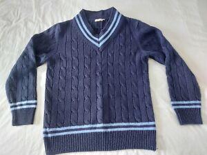 Mens Cotton Traders Navy Cable Knit Cricket Jumper Size Medium